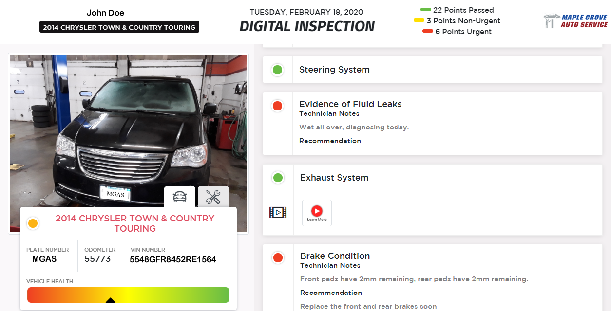 Digital Vehicle Inspection Example Image